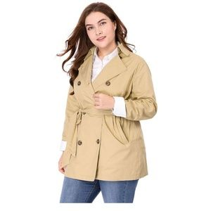 Jackets & Blazers - Double Breasted Long Sleeve Belted Trench Coat 1X